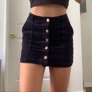 Navy corduroy mini skirt